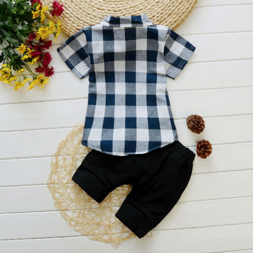 2pc infant Baby boys clothes cotton casual formal outfits shirt/&short pants