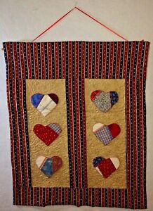 Patriotic-Applique-Heart-Quilt-20-034-x-24-034-Red-White-amp-Blue-Wall-Hanging