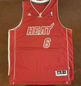 new style e59da 5fb60 Details about Rare Adidas NBA Miami Heat LeBron James Red Hot Basketball  Jersey