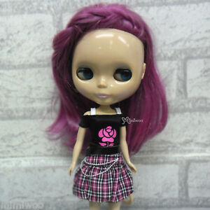 Blythe-Momoko-Hujoo-Berry-Pure-Neemo-Obitsu-Outfit-Low-Waist-Skirt-Tee-ROSE