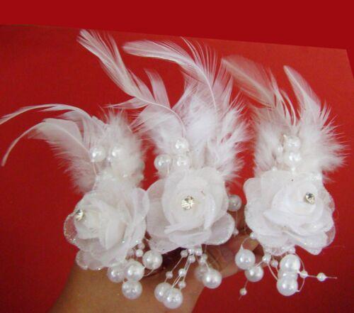 TOP Set 3x Haarnadeln Strass aus Federn Haarkamm Hochzeit in Weiss Ivory HF1