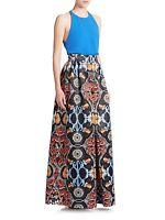 Alice + Olivia High Waist Deep Pleated Culotte Pant Baroque Multi Color Sz 4
