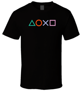 New-Funny-Playstation-Controller-Buttons-Custom-Mens-Black-T-Shirt-Size-S-to-XL