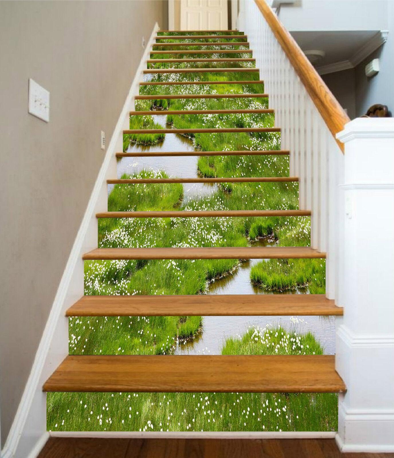 3D Grünes Gras 327 Stair Risers Dekoration Fototapete Vinyl Aufkleber Tapete DE