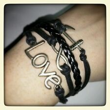LOVE INFINITE INFINITY ANCHOR SILVER TONE BLACK 4 STRAND BRACELET CUFF