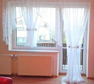 Fertiggardine aus Voile Balkon SET Schöne Weiße Gardine HG-ANNA ...