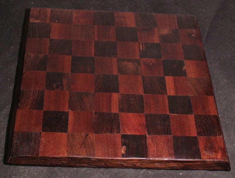 Vintage Wood Inlay Chess Board
