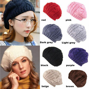 5b6cab8b7f05d Women Beret Braided Baggy Knit Crochet Beanie Hat Ski Cap Solid ...