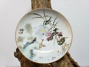 Fine-Chinese-Handpainted-Famille-Rose-Porcelain-Dish-Plate