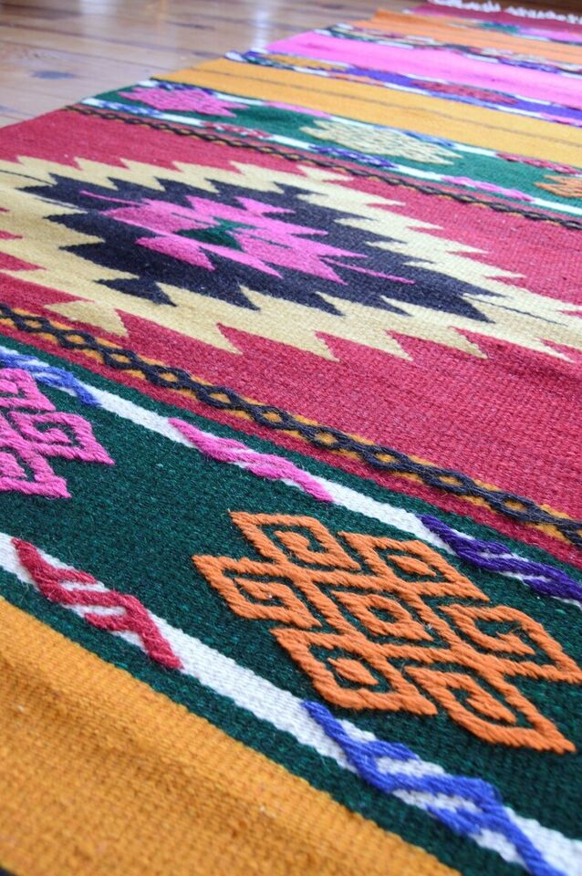 Løber, ægte tæppe, uld/bomuld
