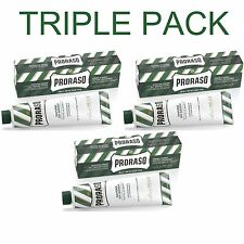 3 Pack - Proraso Eucalyptus and Menthol Shaving Cream 150ml Green Tube 150ml