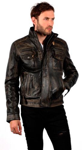 Motard 100 Cuir Vintage Brando Veste Style Homme Noir qUgEW0