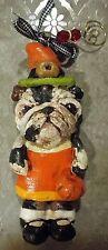 Folk Art English Bull Dog Bulldog Witch Halloween Ornament Vintage Style New