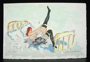 Grabado Firmada Num 224/500 Mujer Con Cama Y Sus Bajo Woman IN Bed And Her Bota