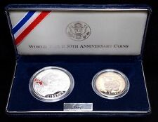 1991-1995 World War II 50th Anniversary 2-Coin Proof Set Gem BU with Box and COA