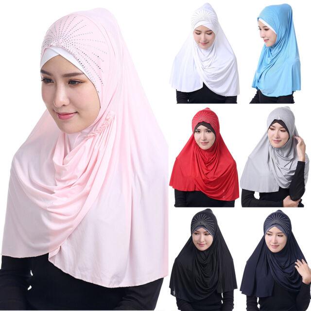Islamic Muslim Ladies Shawl Solid Head Scarf Hijab Headwear Neck Cover head Wrap
