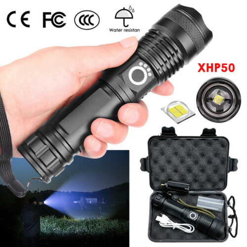 900000Lumens High Power XHP50 Zoom Flashlight LED Rechargeable Torch Torch Light