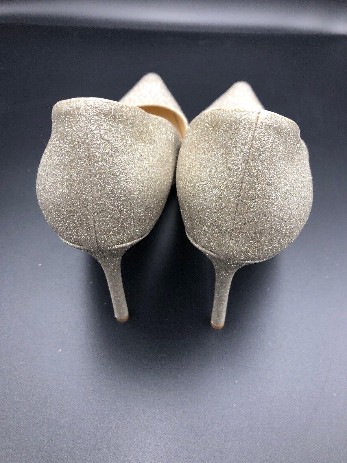 Jimmy Choo Romy 100 Dusty Glace Argent Paillettes Paillettes Paillettes Talons Hauts Pompe Stiletto UK 7 EU 40 365495