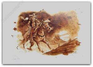 Affiche Juapi Hommage à Lucky Luke Signé 32x45 Cm