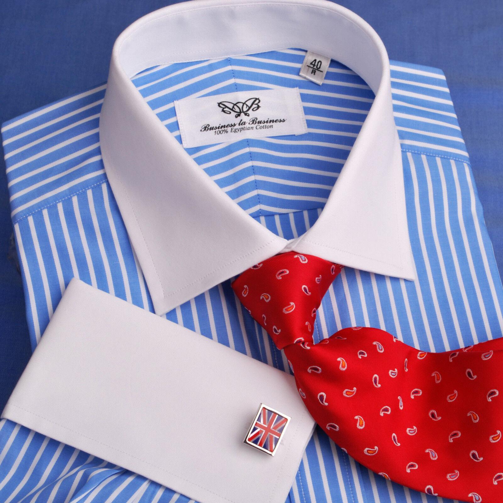 Blau  Herren Geschäft Formal Dress Shirt French Contrast Cuff Stripe Classic Luxury