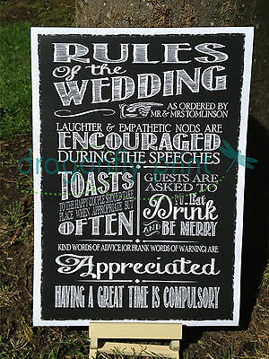RULES OF THE WEDDING vintage chalk style PERSONALISED sign print poster