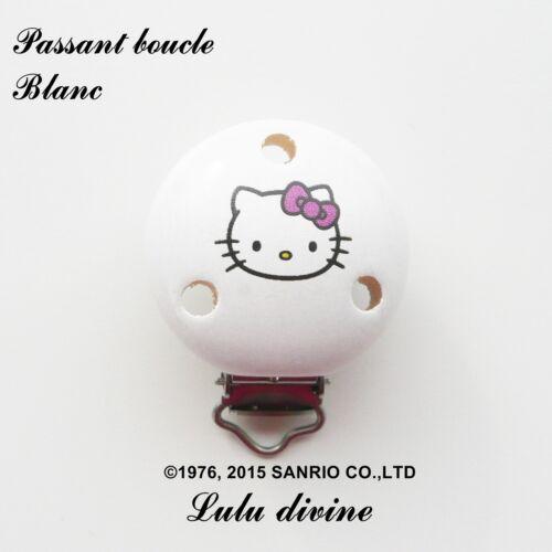 Pince // Clip en bois passant boucle Hello kitty : Blanc attache tétine