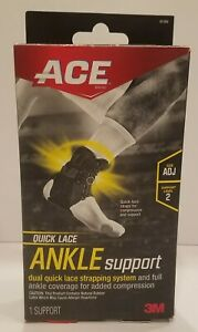 Brand New Ace Adjustable Quick-Lace Ankle Support Black Moderate Compression