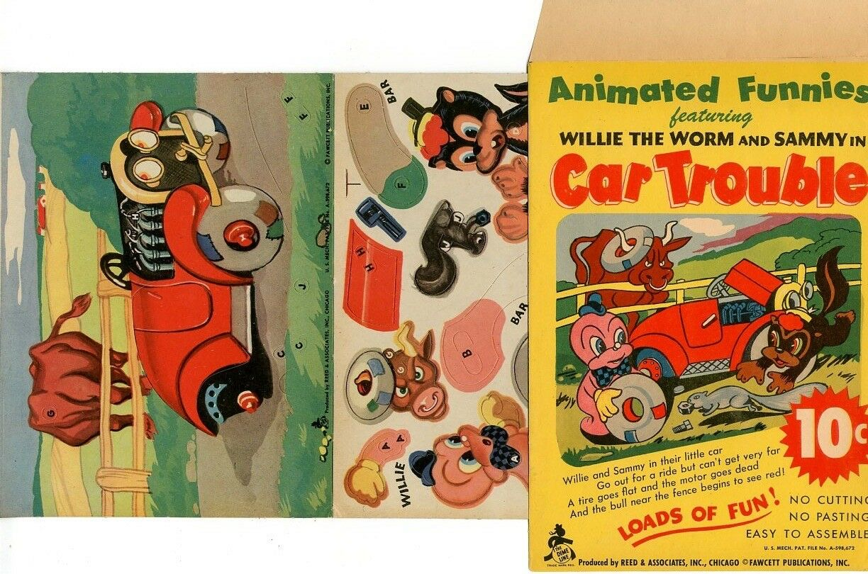 Willie the the the Worm & Sammy Car Trouble Paper Toy   VF    Fawcett Publications abb