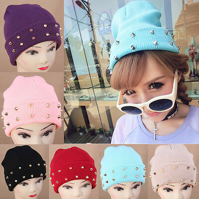 New Winter Beanie Hats Cone Spikes Stud Punk Rivet Warm Knitted Candy Color Caps
