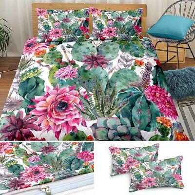 Bedding Set Cactus Print Duvet Quilt Cover Pillowcase Twin Queen King US Size