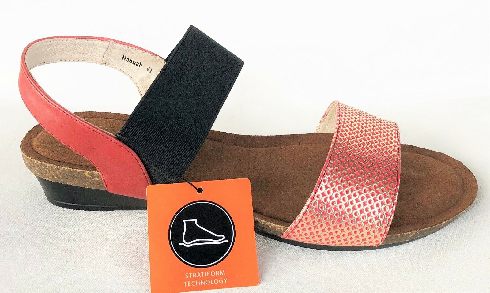 Klouds Schuhes Sandales - Comfort wedge Leder Sandales Schuhes - Silver lining Hannah ROT Shimmer f400c9