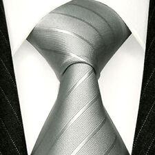 84294 LORENZO CANA Markenkrawatte aus 100% Seide Silber Grau Business Streifen