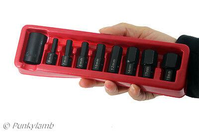 """9 Pc 1/2"""" Drive Hex / Allen Socket Bit Set 6 7 8 10 12 14 17 19mm Garage Tool"""
