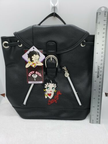Betty Boop black faux leather vinyl Purse Embroidered backpack vintage American