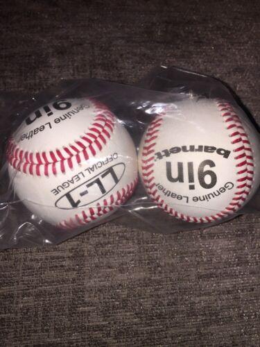Barnett LL-1 Official League Genuine Leather 9 Baseball Ball x 2 NEW