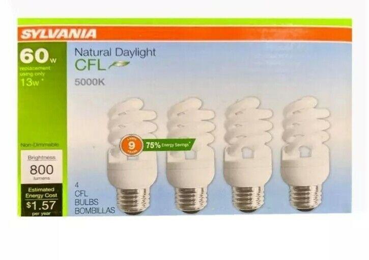 Sylvania Natural Daylight CFL 5000K 60W//13W 4Pack