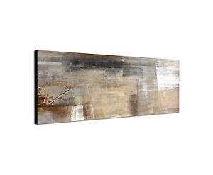 Details zu 150x50cm Wandbild Leinwand Panorama abstrakt in beige grau weiß  Tönen