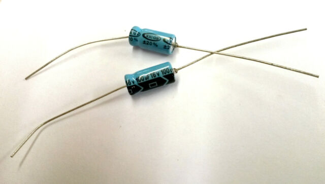100uf 16v - Electrolytic Capacitor  (Lot of 100) XAL16v100  Xicon Axial lead NEW
