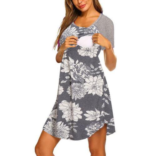 Womens Pregnancy Maternity Nursing Dress Summer Casual Breastfeeding Long Tops