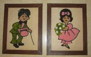 Set-of-2-Framed-Gravel-Pebble-Art-Girl-Boy-Pink-Green-Colors