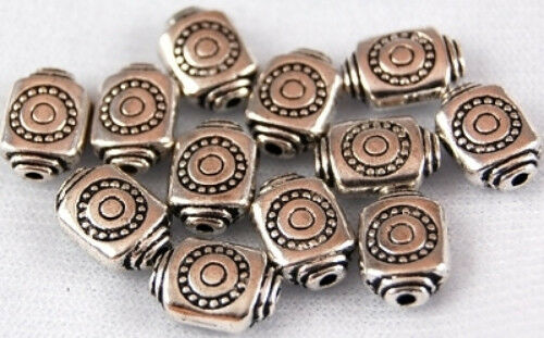 25 Square Tube Tibetan Lead Free Silver Spacer Beads Loose Jewelry Making Craft