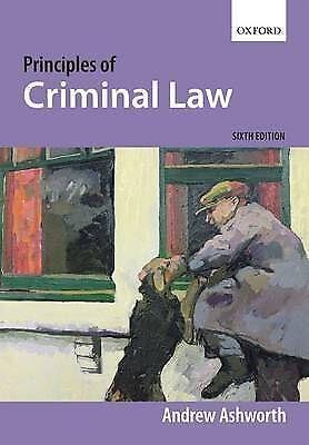 """AS NEW"" Principles of Criminal Law, Ashworth, Andrew, Book"