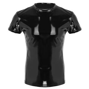 Herren-Lack-Leder-Shirt-Hemd-Wetlook-Tank-Kurzarm-Slim-Fit-Unterhemd-Reizwaesche