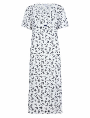 M /& S COLLECTION LADIES BLUE MIX FLORAL PINTUCK NIGHTDRESS
