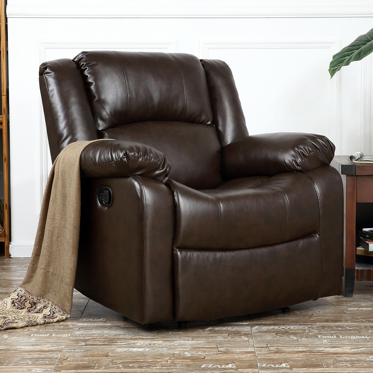 Picture of: Oversized Leather Recliner Large Extra Wide Rocker Chair Brown Overstuffed For Sale Online Ebay
