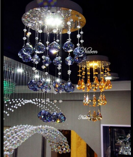 Crystal LED Pendant Lamp Lighting Ceiling Light Rain Drop Restaurant Chandelier