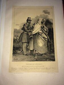 CHARLET Grande Lithographie HOMME DU DÉSERT MILIEU XIXE - France - 36 x 53 cm Avec les marges Paris, chez Gihaut, Lithographie de Villain. - France