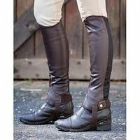 Brand Dublin Flexi Leather Half Chaps - Adults, Black Or Brown