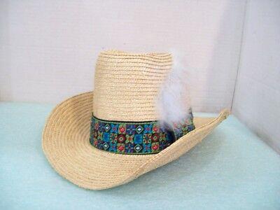 0f464a234 Vintage Ranger Cowboy Western Straw Feathered Hat Ranger Resources Hat M    eBay