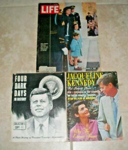 Mixed-Lot-of-3-John-and-Jacqueline-Kennedy-Life-Magazines-JFK-Assasination-1963